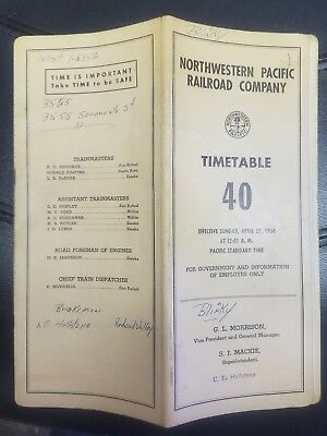 1958 Northwestern Pacific Railroad Co Time-Table No 40 Employee And Government