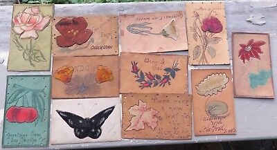 Antique Vtg Collection of Leather Postcards Lot #63 Mohair Silk Fruit Flowers