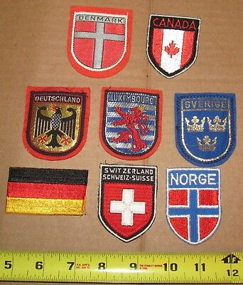 Assorted European & Canada Patches Swiss,Norway, Germany Embroidered Patches Lot