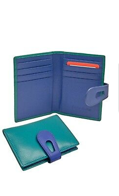 ILI Leather Small Credit Card Holder/Wallet with RFID aqua/cobalt