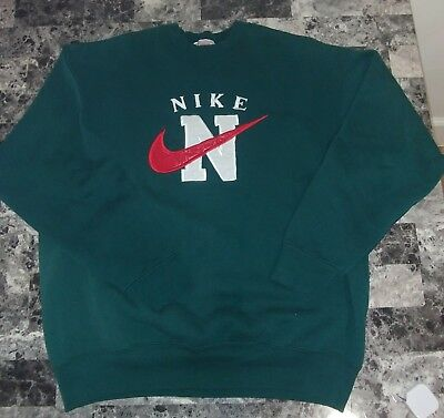 Vintage Nike Crew Neck Sweatshirt Xl Made USA 90s Spell Out Swoosh Rare VTG BL