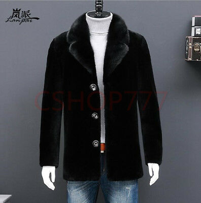 Mens New Fashion lapel collar Wool cashmere single Breasted outwear Coats Jacket