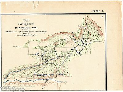 Civil War 1895 Map of the Battlefield at Pea Ridge AR March 6-8,1862 Plate X