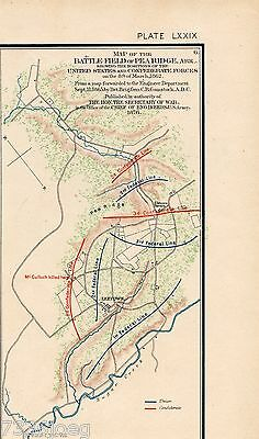 Civil War 1895 Map of the Battlefield at Pea Ridge AR March 6-8,1862 Plate LXXIX