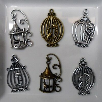 2 Charms - Charms - Pendants - CAGES style BIRDS - silvered metal or BRONZE