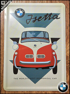 BMW -  Isetta Car Metal Postcard Mini Tin Sign Novelty Card gift