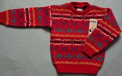 Vintage Magor Size 5 Knitted Wool Jumper Red Brand New With Tags