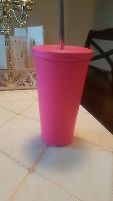 Starbucks Hot Pink Matte Stainless Steel Cup 16oz Brand New HTF