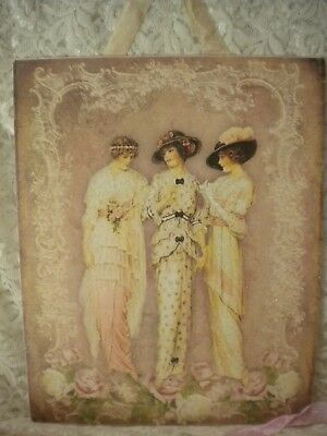 "Shabby Chic / Vintage / French / Paris Women Hanging Plaque 8""x 10"""