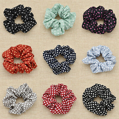 Polka Dot Chiffon Fabric Scrunchie Hair Accessories Hairbands Vintage Women Deco