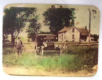 Antique Celluloid Photograph on Metal w/Ford Car, Farmhouse & Well Dressed Man