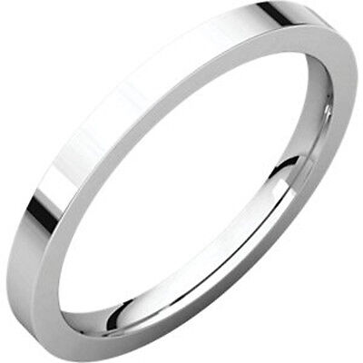 2mm Solid Platinum 950 Plain Flat Heavy Weight Comfort Fit Wedding Band Size 5