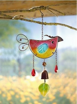 Stained glass colorful bird wind chimes pendant decoration tropical style