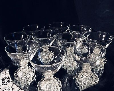 Lot/10 Vintage Imperial Anchor Hocking BOOPIE GLASS Sherbet Bowls and Juice