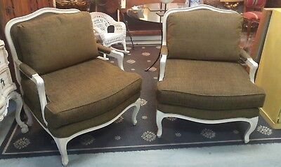 Pair Of Vintage Modern French Style Upholstered Bergere Chairs Painted Frames