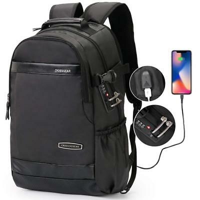 CrossGear Backpack Leather with USB Charging Port Anti-theft Business School bag