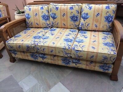 Antique lounge suite 3 seater couch and 2 armchairs solid wood with insert cane.