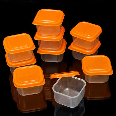 10x Mini Storage Boxes Plastic Baby Weaning Feeding Freezer Food Pots Containers