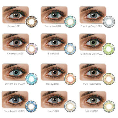 1Pair 14.5mm DIA Unisex Blue Green Honey Brown Gray Colour Contact Lens a Manera