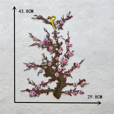 pink tree bird applique embroidery clothing decorate accessory YL931