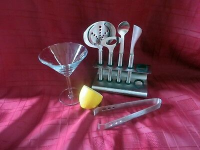Retro Screwpull  Le Creuset  Stainless Steel Cocktail set on Stand Bartender Kit