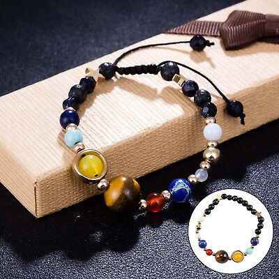 Unisex Fashion Natural Stone Beads Braided Bracelet Universe Galaxy Solar System