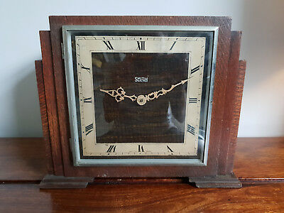 "Antique 1930's ""Smith Electric"" Synchronous Electric Chiming Oak Mantel Clock"