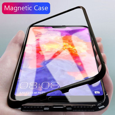 Clear 360° Magnetic Adsorption Metal Case Tempered Glass Cover Fr Huawei P20 Pro