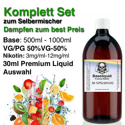 E-liquid Base Bundle 50:50 250ml -1000ml mit Nikotin 0-3-6 mg inkl.Shots & Aroma