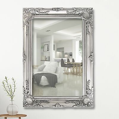 Large French Style Ornate Wall Mirror Hanging Provincial Frame SILVER 103x73CM