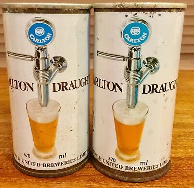 Carlton Draught. 370ml Straight Steel Beer Cans. x 2 Different.