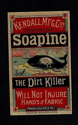 1880s Victorian SOAPINE Advertising Card - Image of Man Washing a Whale NICE !!