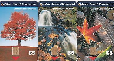 Telstra  Collector Service Autumn Maple Waterfall  Leaves Scarce Mint  H90