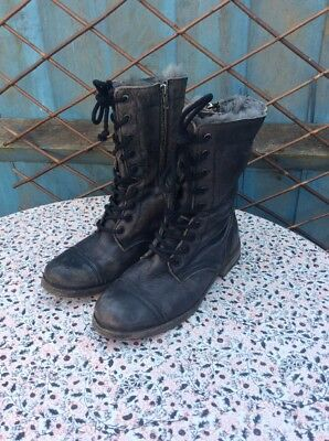 ALLSAINTS - Black - Distressed Leather - Zip & Lace - Military - Boots - UK 5