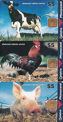 Telstra  Collector Service  Cow Pig Rooster   Perfect Mint  H97