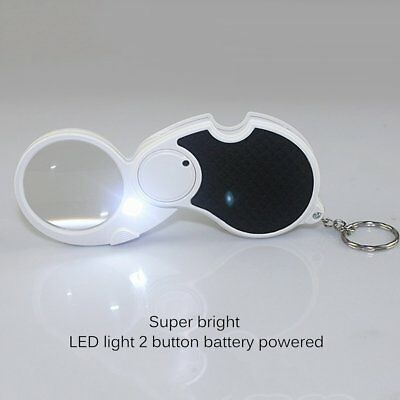 5X 45mm LED Lights Magnifier With Key Rings Folding Reading Magnifying Glass F7