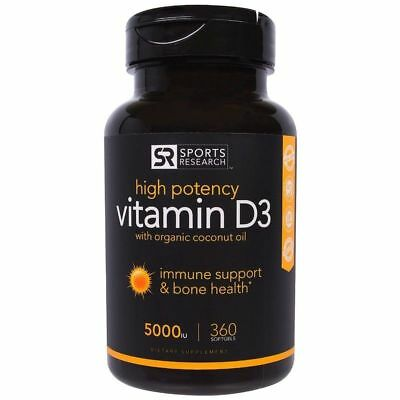 Sports Research Vitamin D3 With Organic Coconut Oil 5000 Iu 360 Softgels
