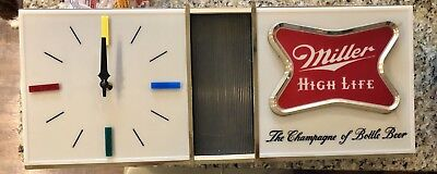 Vintage 60's Miller High Life Beer Advertisment Clock With Bar Light