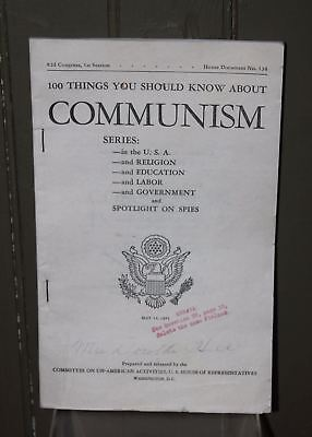 "vintage 1951 Book ""100 Things You Should Know About Communism"" - US House of Rep"