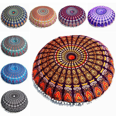Large Round Floor Pillow Pouf Ottoman Cushion Cover Hippie Bohemian Day Bed Art