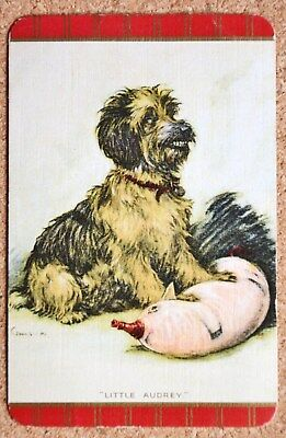 Dog - English Named 'little Audrey' -Vintage Linen Single Swap Playing Card