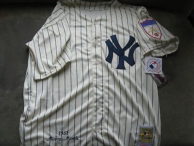 NY Yankees Mickey Mantle 1951 Throwback Home Jersey L