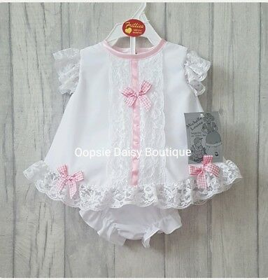Baby Girls Gorgeous Spanish Romany Style White Angel Top/Dress Set & Bloomers ☆