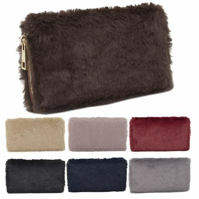 New Fluffy Synthetic Fur Ladies Trendy Wallet Purse