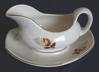 "Kernewek (Cornwall) Pottery Gravy Boat With Saucer  ""autumn Rose Design"""