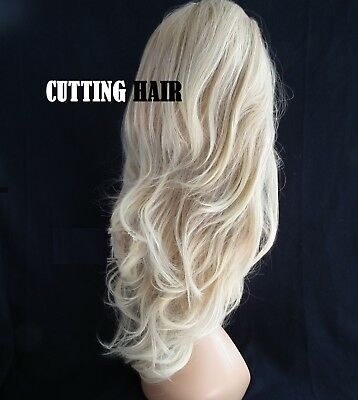 Fantastic Layers Ash Blonde mix Curly Med Long Lace Front Wig 090