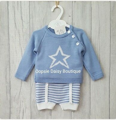 Boys Gorgeous Spanish Romany Style Blue Knitted Star Suit ☆