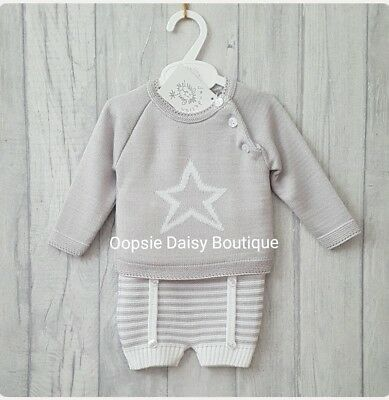 Boys Gorgeous Spanish Romany Style Grey Knitted Star Suit ☆