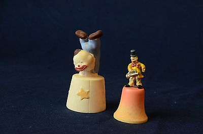 TWO Vintage Collectible Ceramic Clown Bells Figurine ,ANRI,ITALY Hand Made