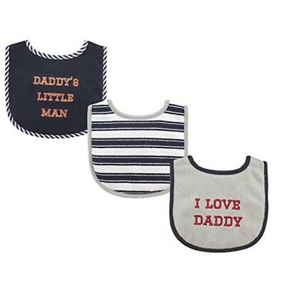 Luvable Friends 3 Piece Drooler Bibs with Fiber Filling for Boys, I love Daddy